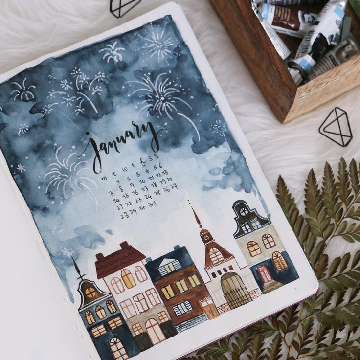 "���� ☾ on Instagram: ""First page of 2019� This theme is inspired by my New Year's Eve! The story is me and my husband decided to watch fire works at home for…"""