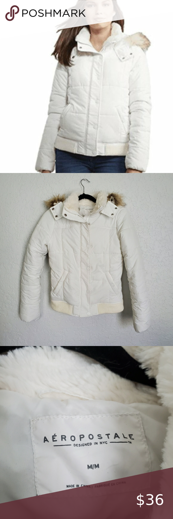 Aeropostal White Hooded Puffer Jacket Medium White Puffer Jacket Clothes Design Jackets [ 1740 x 580 Pixel ]