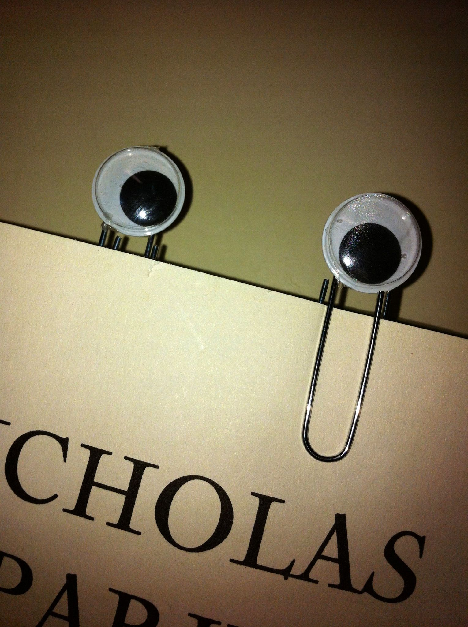Bookmark - googly eye  paper clip!