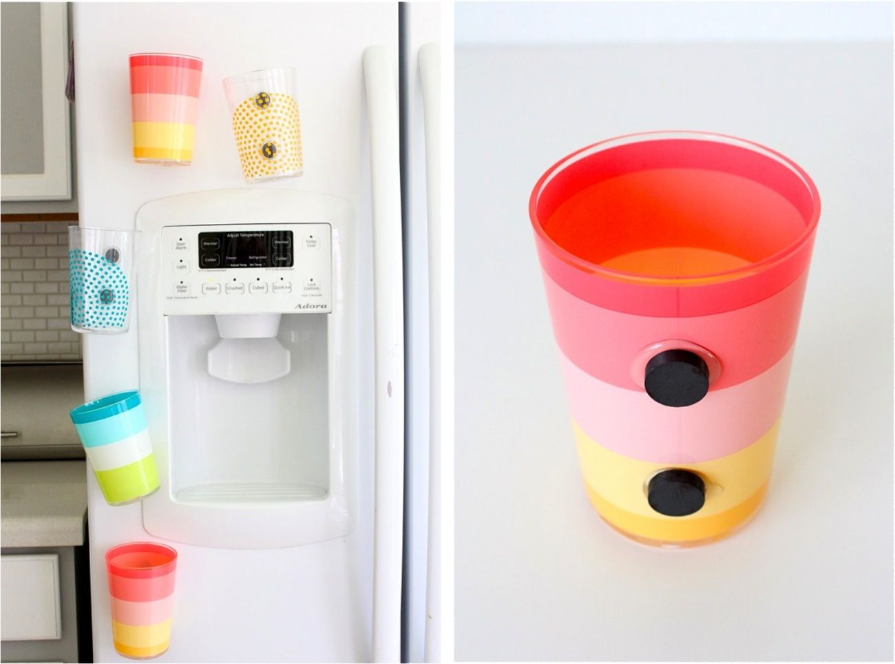 Tired of kids asking for a drink of water every two seconds and pulling new cups out of the cupboard. Why not make cups that stick on the fridge with magnets?  They can grab a cup, get their own water, then stick it back in the same spot.