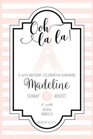 Paris Birthday Party Invitation Template - Ooh la la Invitation - invitation birthday template