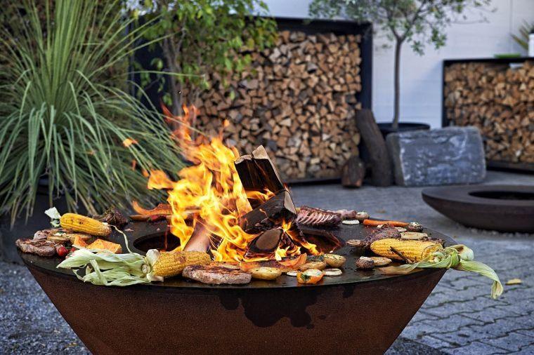 Foyer Extrieur Design Et Barbecue Bois En Acier Pour Une Exprience