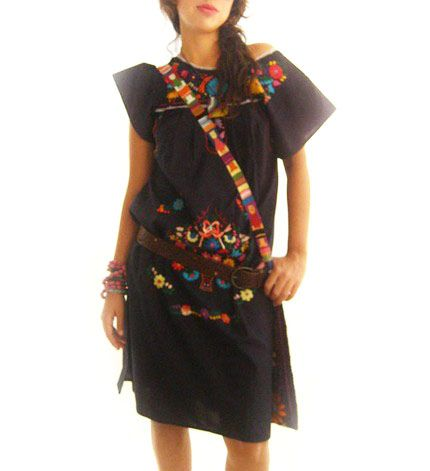 embroidered mexican black dress #clothes #clothing #mexico #chiapas #fasion