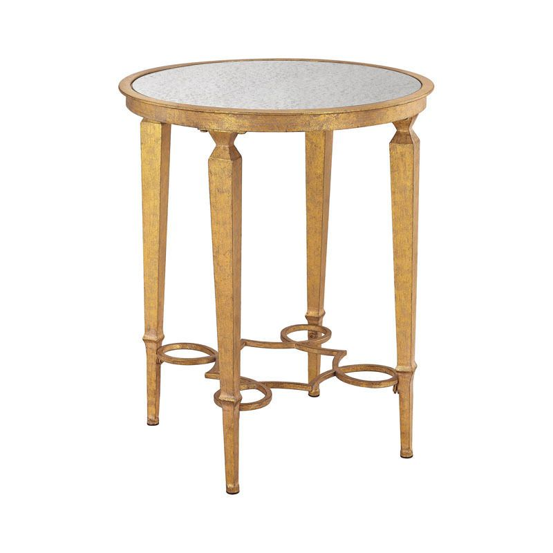 New French Parisian Gold Leaf Side End Table W Antique Mirrored Gl Round Top And Wrought Iron Accent Decorative Style Quatrefoil Design