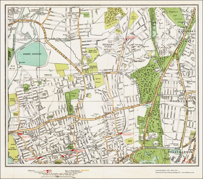 an old map of the walthamstow highams park area area london in 1932