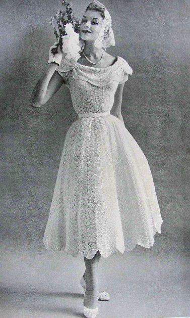 1950s Beautiful Informal Wedding Dress Knitting Pattern