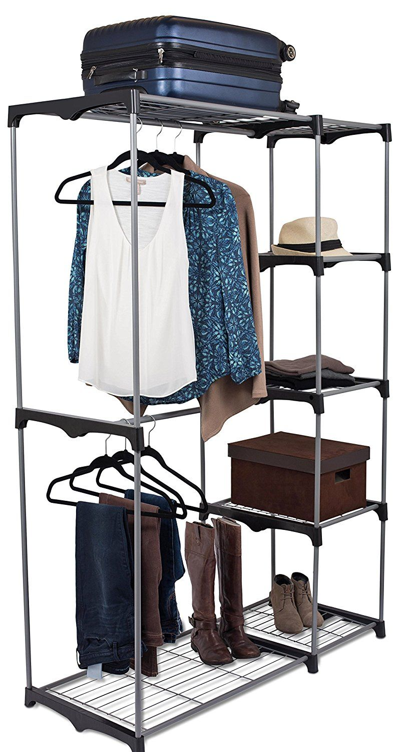 Free 2 Day Shipping Buy Internet S Best Portable Closet Organizer Double Rod Freestanding Garment Rack Mult In 2020 Garment Racks Portable Closet Wardrobe Storage