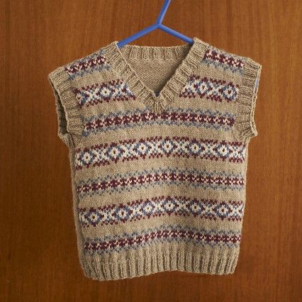 Boy's Retro Fair Isle Tank Top knitting pattern | Breien - Fair ...