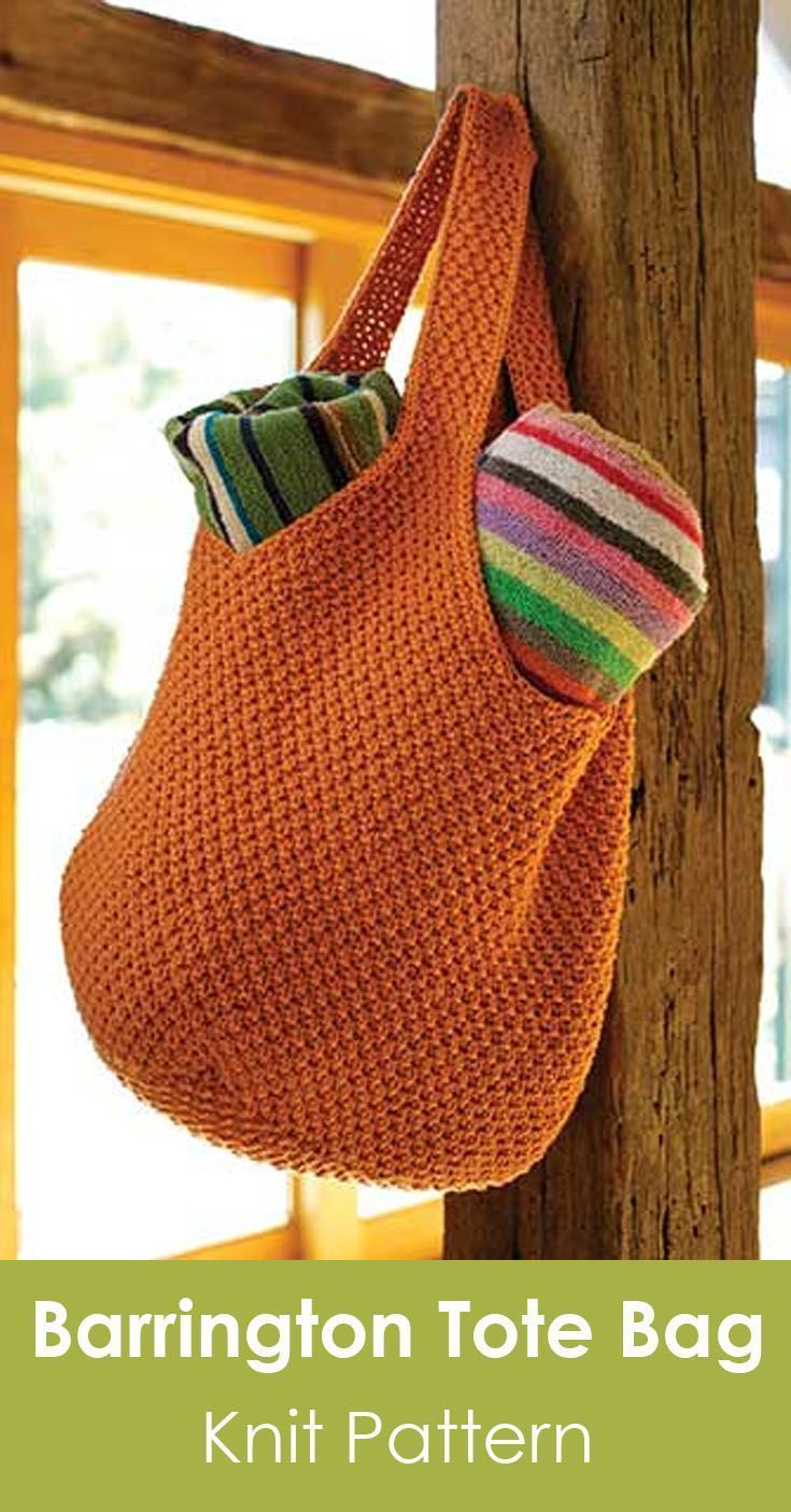 Barrington Tote Bag knit pattern. Oversized tote for everyday use. Skill level: …