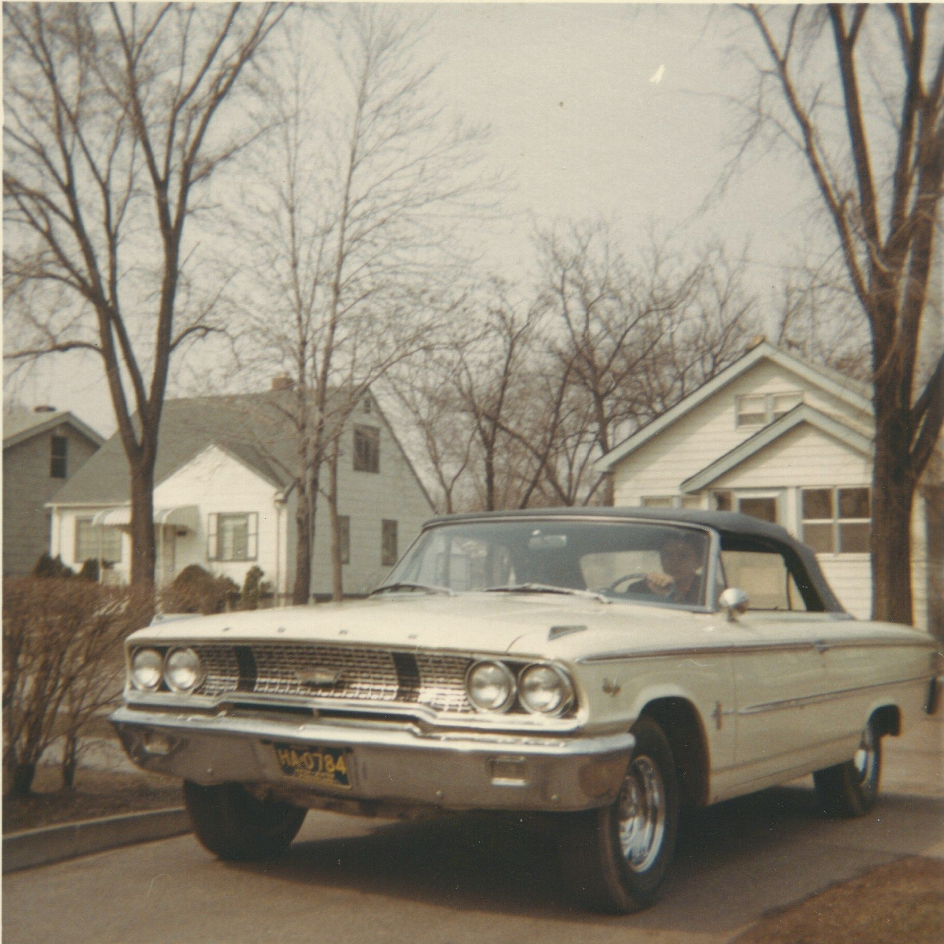 My 1963 Ford Galaxie 500 Convertible When I First Bought It Painted Original White With Blue Vinyl