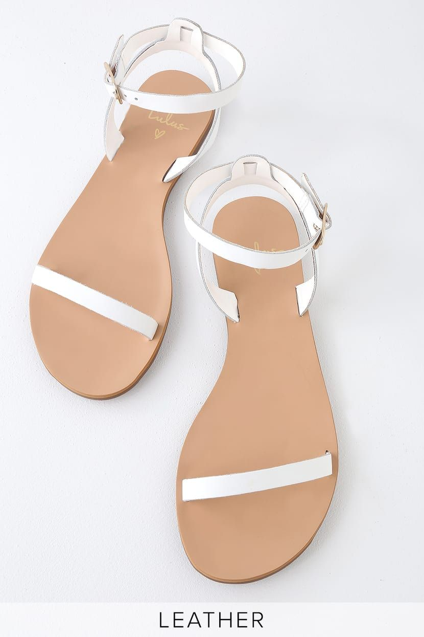 39091fe9caf88 Colette White Nappa Leather Flat Ankle Strap Sandals in 2019 ...