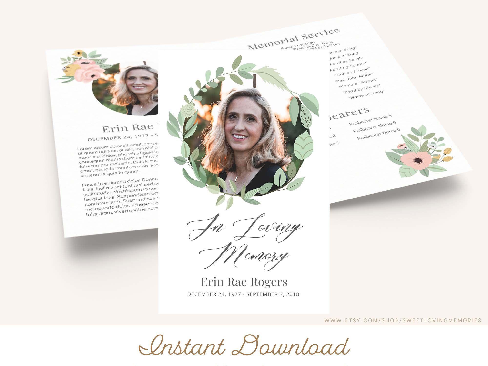 Printable Funeral Program Template Greenery Memorial Program Etsy Funeral Program Template Invitation Design Template Funeral Programs