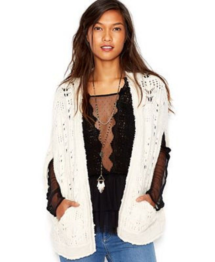 Free People Ivory Combo Cream Chunky Cable Knit Sweater Vest Lily Cape Shrug S M Freepeople Shrug Chunky Cable Knit Sweater Lace Knitting Cable Knit Sweaters