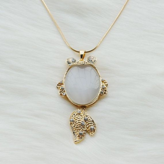 Long gold necklace with a white jade gold fish pendant,Long chain necklace,Long necklace,Unique necklace,Big pendant necklace,Fashion