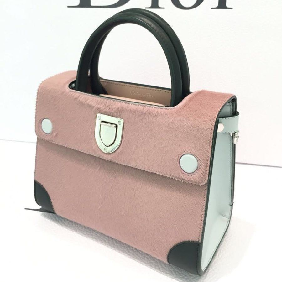 c761b616b8 Dior Pink/Black Pony-Effect Calfskin Mini Diorever Bag with Corners ...