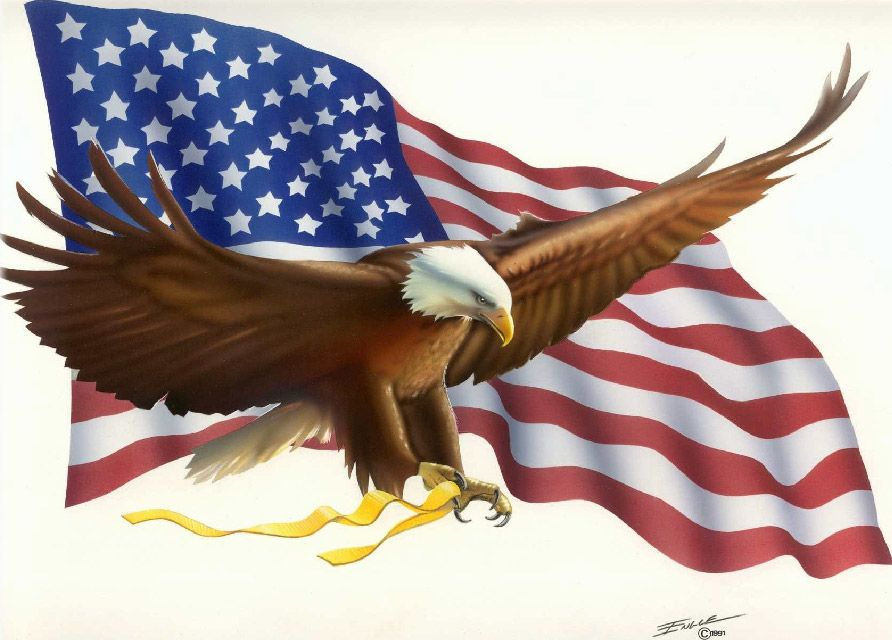 American Flag Background With Eagle American Flag and Eagle