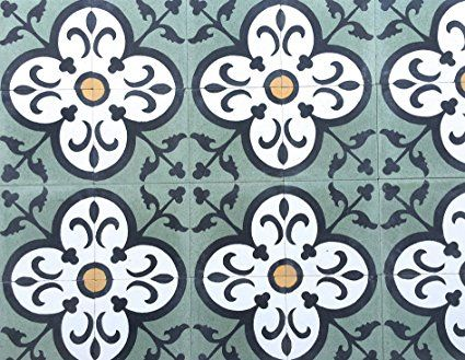 Decorative Tiles For Sale Flora Encaustic Green 8X8 Honed Finish Cement Tile Floor  Wall