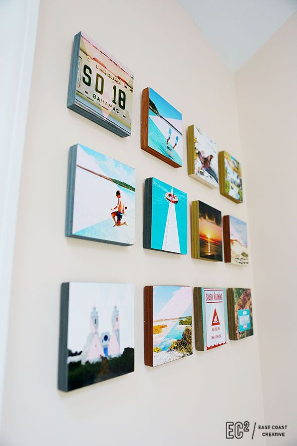 Photo prints glued on wood with E6000,  mounted to wall with 3M picture hanging strips