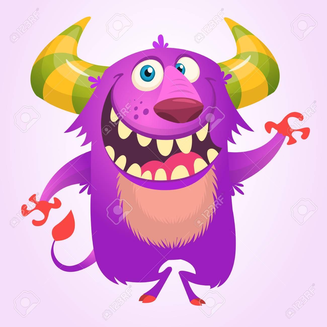 Cute Cartoon Violet Horned And Fluffy Monster Smiling Halloween Cute Cartoon Kawaii Doodles Halloween Vector
