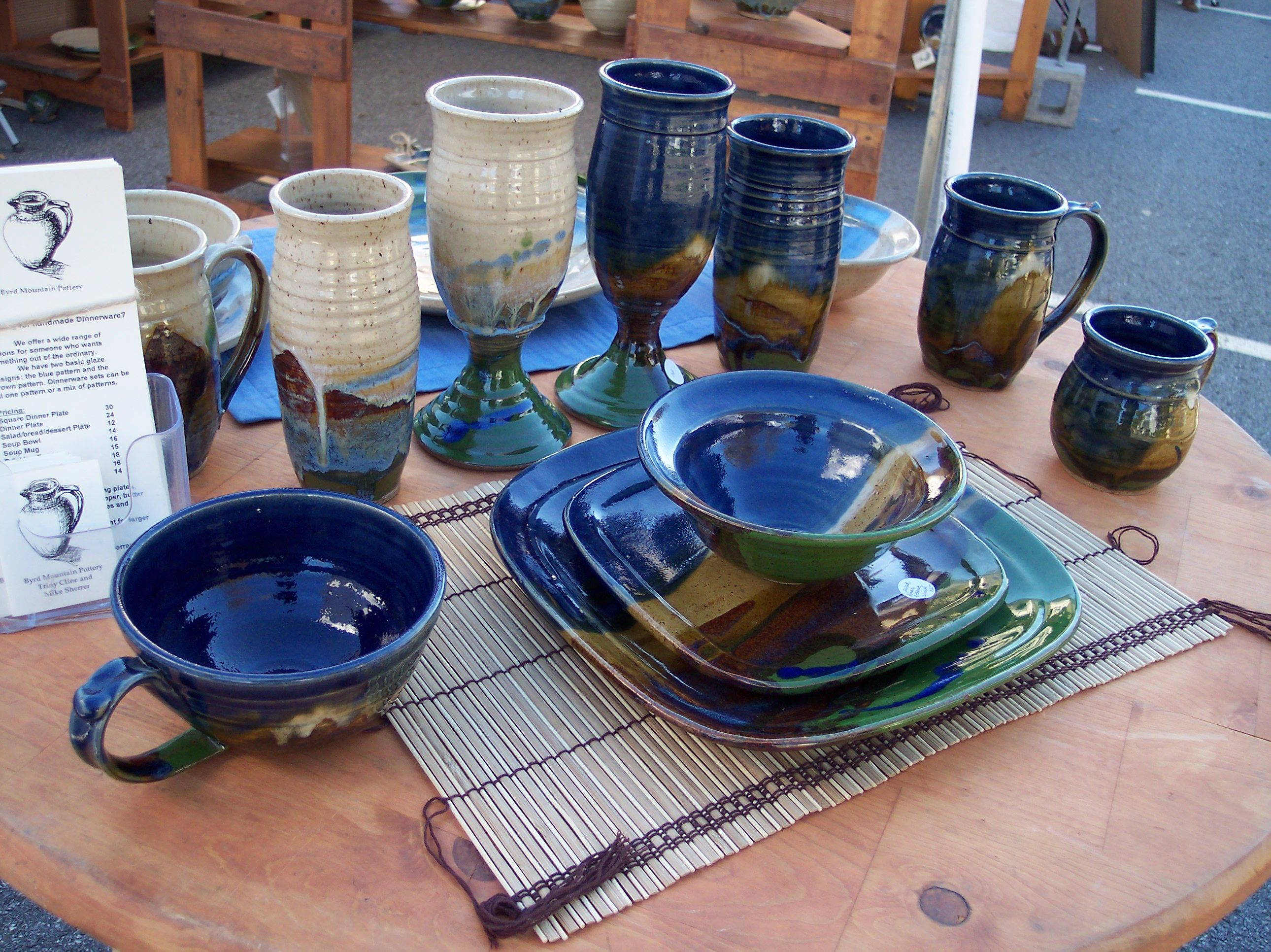 Blue Pattern w/Square Plates & beautiful handmade dinnerware - my favorite drinking glasses - byrd ...