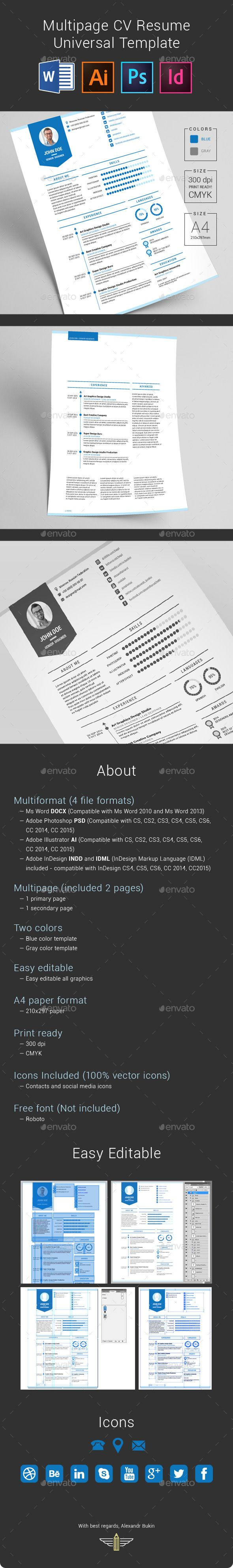 multipage cv resume universal template by bagd multiformat
