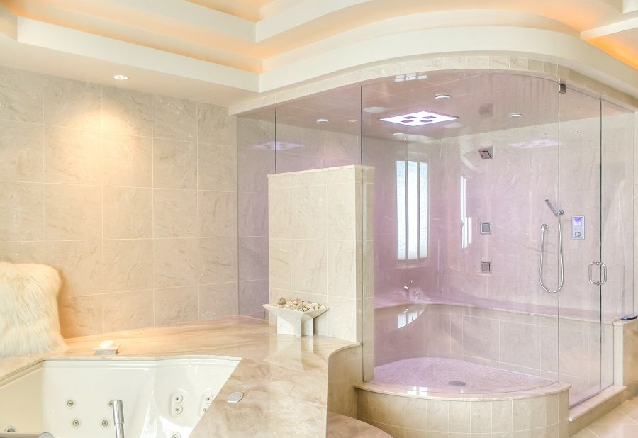 Luxury Tile Showers shower ideas - huge tile shower with seat, spray jets hand shower