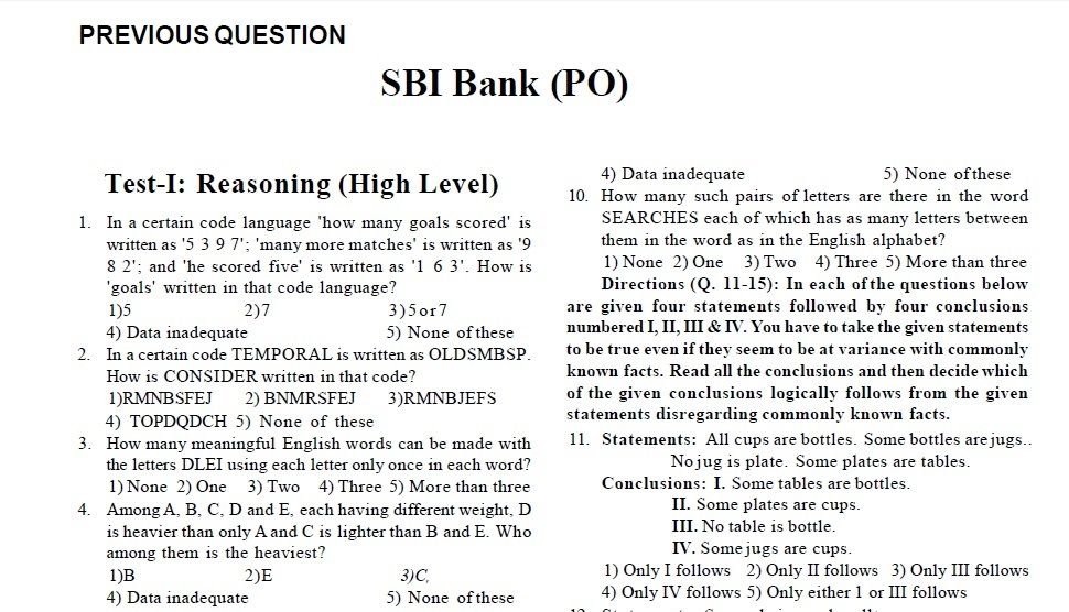 SBI PO Previous Year Question Paper 2013