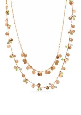 Lonna  Lilly  Gold-Tone and Green Double Row Shaky Necklace