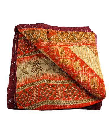 Orange Multi Vintage Indian Kantha Sari Throw by Modelli Creations on #zulily  ($149.00)  $69.00