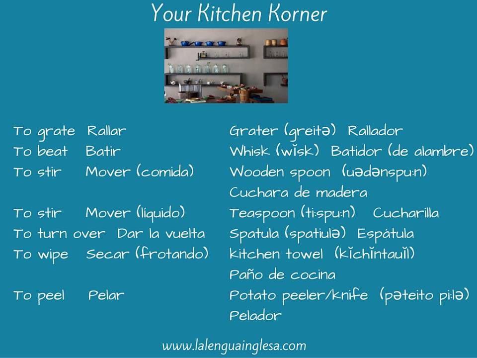 Verbos Y Sustantivos Relativos A La Cocina. #Inglés #English #Cooking  #Vocabulary#Verbs #Recipes