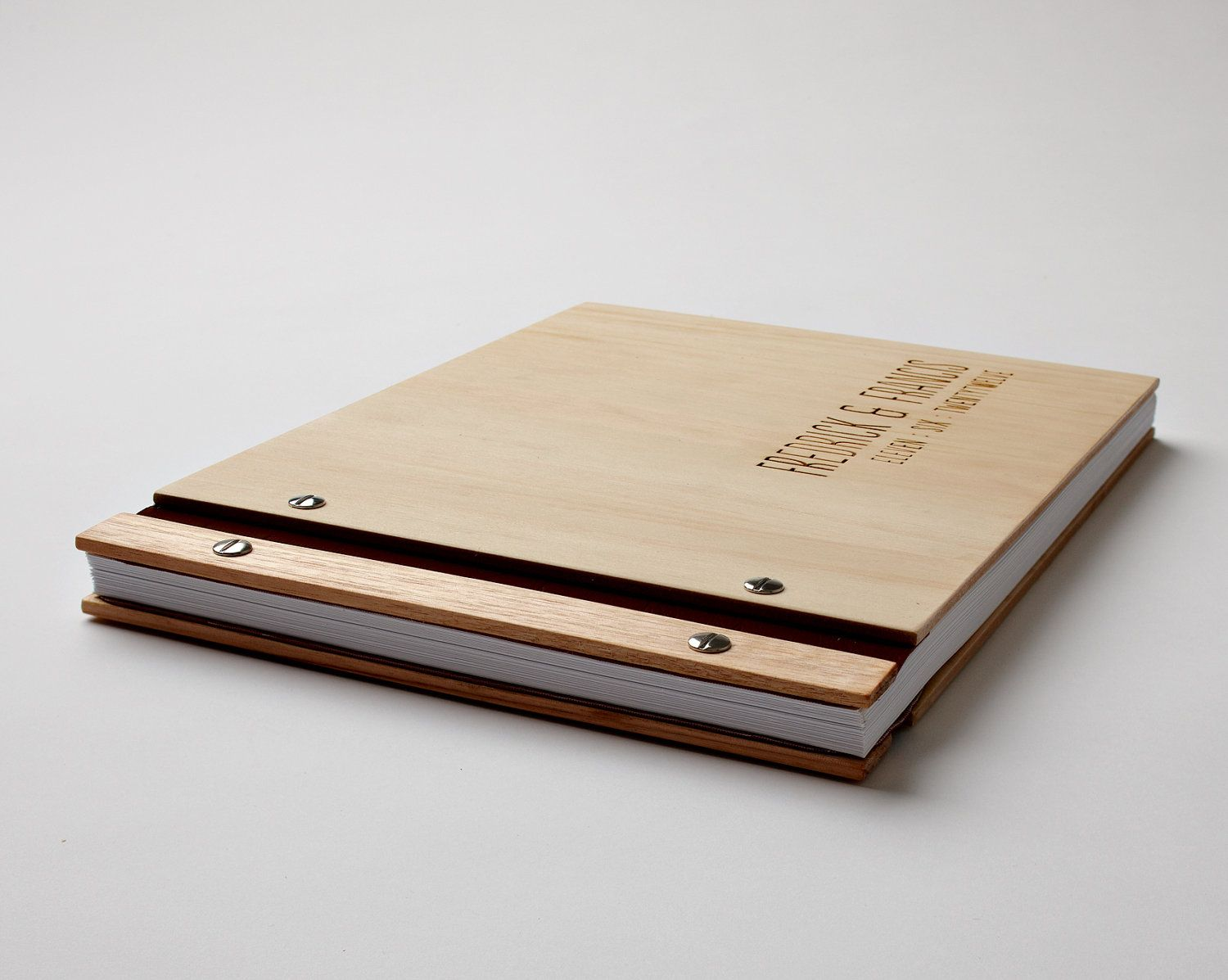 Wood Cover Cookbook : Wood wedding guest book engagement gift fifth