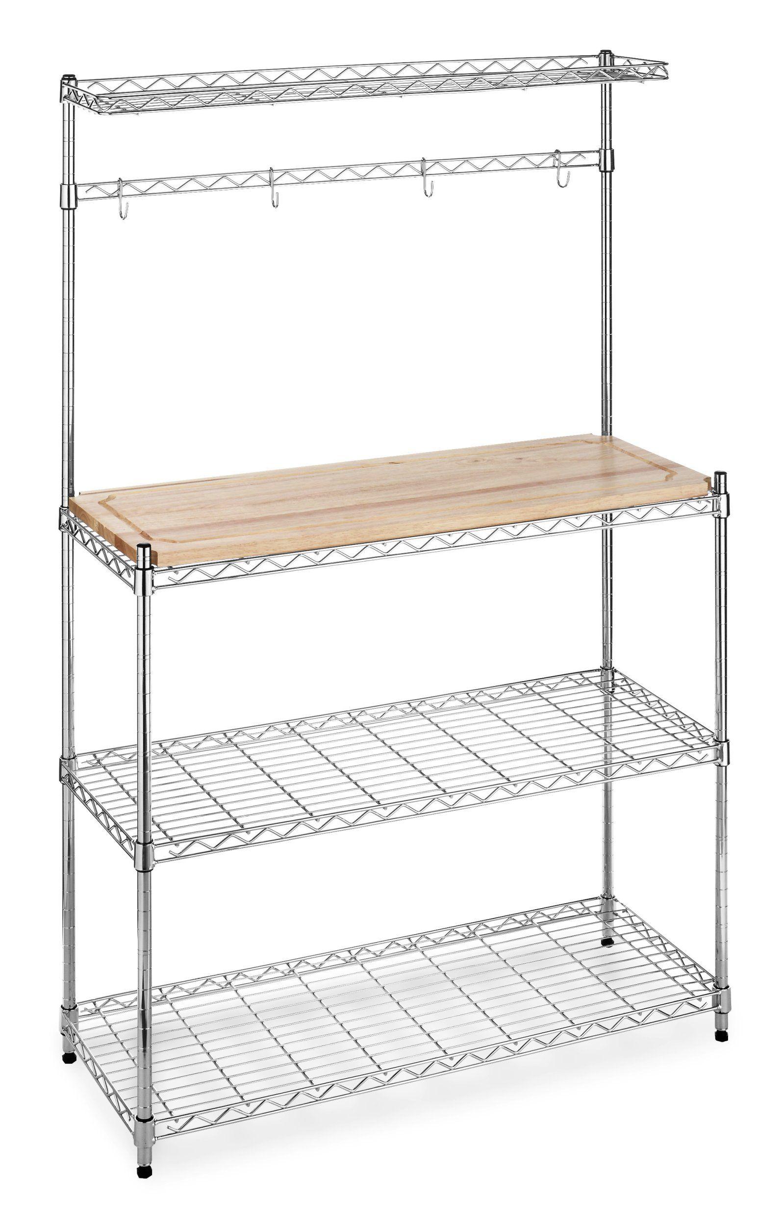 Amazon Com Whitmor 6054 268 Supreme Bakers Rack Chrome And Wood