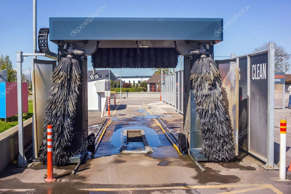 Automatic car wash system. Stock Photo , AD, wash,