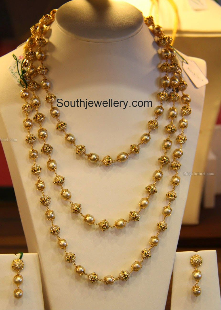 Gold rani haar pictures to pin on pinterest - Three Step Gold Balls South Sea Pearls Haar