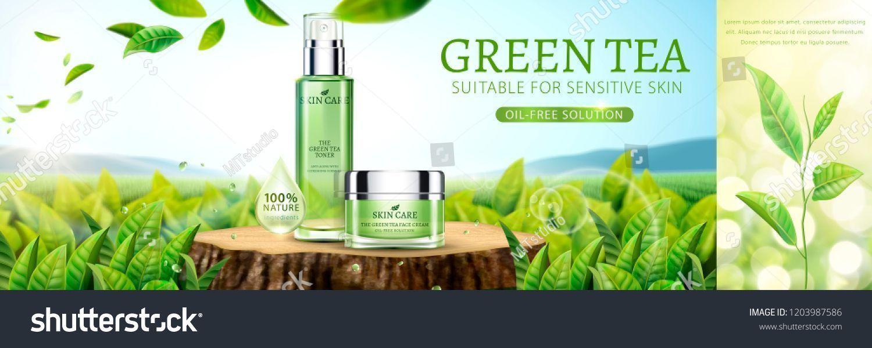 Green Tea Skin Care Banner Ads With Tea Garden Background In 3d Illustration Background Ba In 2020 Green Tea Skin Care Sensitive Skin Oil Skin Care Cleanser