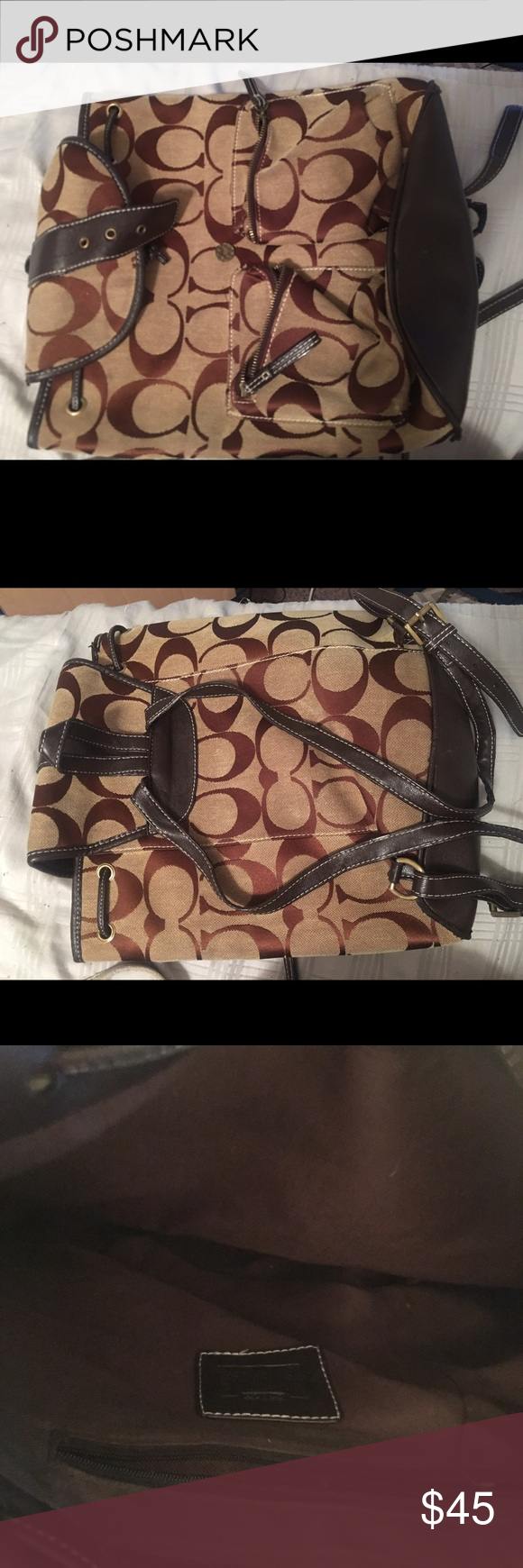 Coach backpack Coach pull string back pack. Half leather half thread. The straps are adjustable. Barely used. Coach Bags Backpacks
