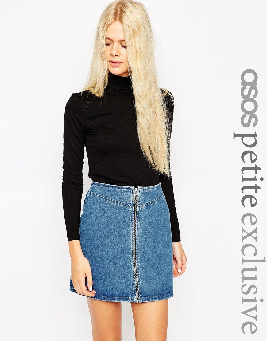 Image of asos petite polo neck top with long sleeve style