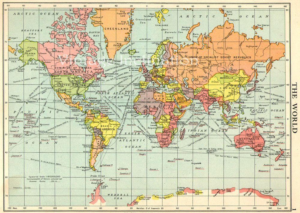 Vintage Map World Globe Earth Original Via Etsy - Blank world map 1950