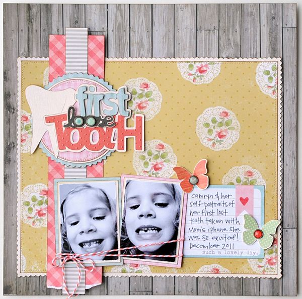 2 pix, outlined silhouette title, scalloped border around pp, cut out butterflies with brad centers from MME Miss Caroline