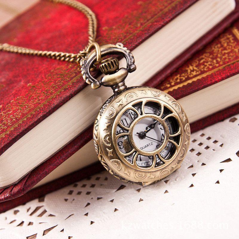 Paradise Hot New Hot Hot Fashion Retro Bronze Quartz Pocket Watch Pendant Chain Necklace Free Shipping May20
