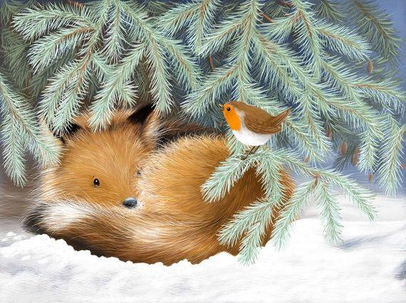 Item Reduced Clearance Christmas Cards Fox Fox Cub