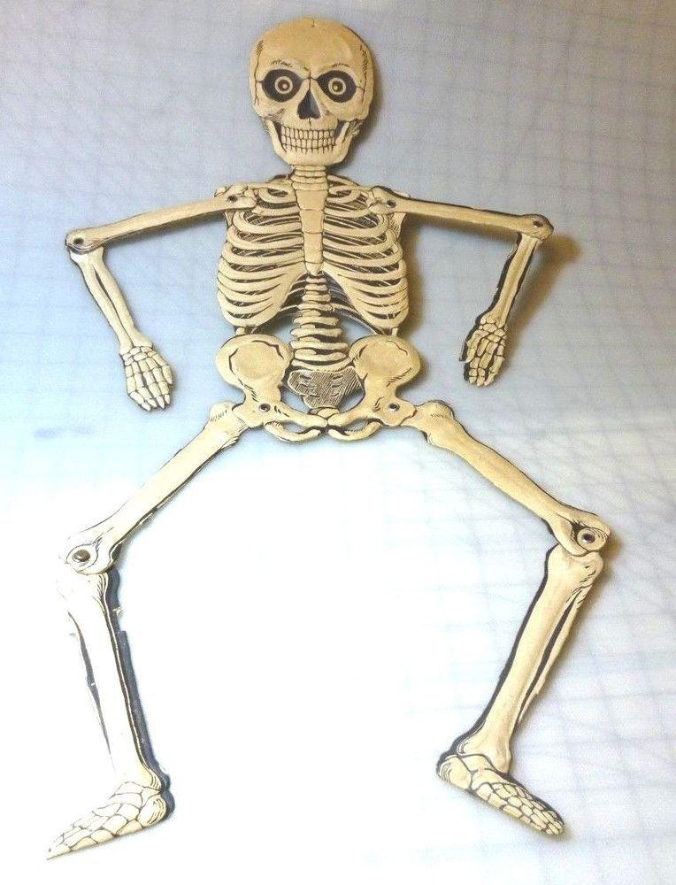 Vintage Skeleton Halloween Decoration Pressed Heavy Paper German