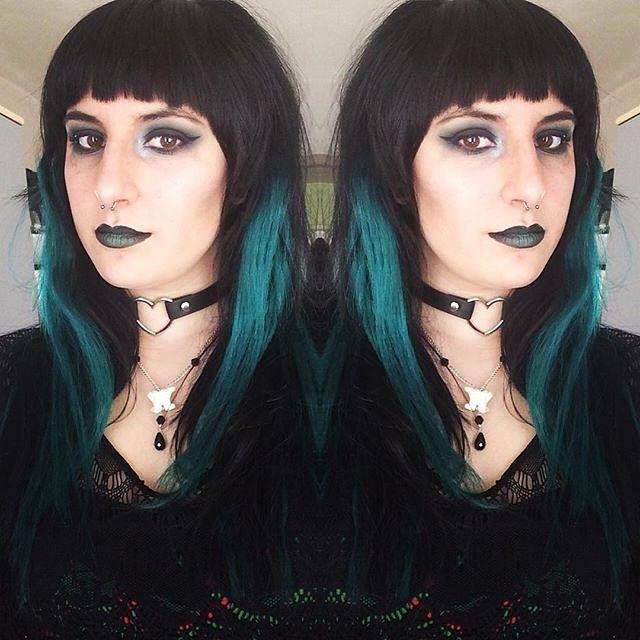 Orphea Modelling Lunatik Hair Dye Absinthe With Matching Makeup Darkly Beautiful