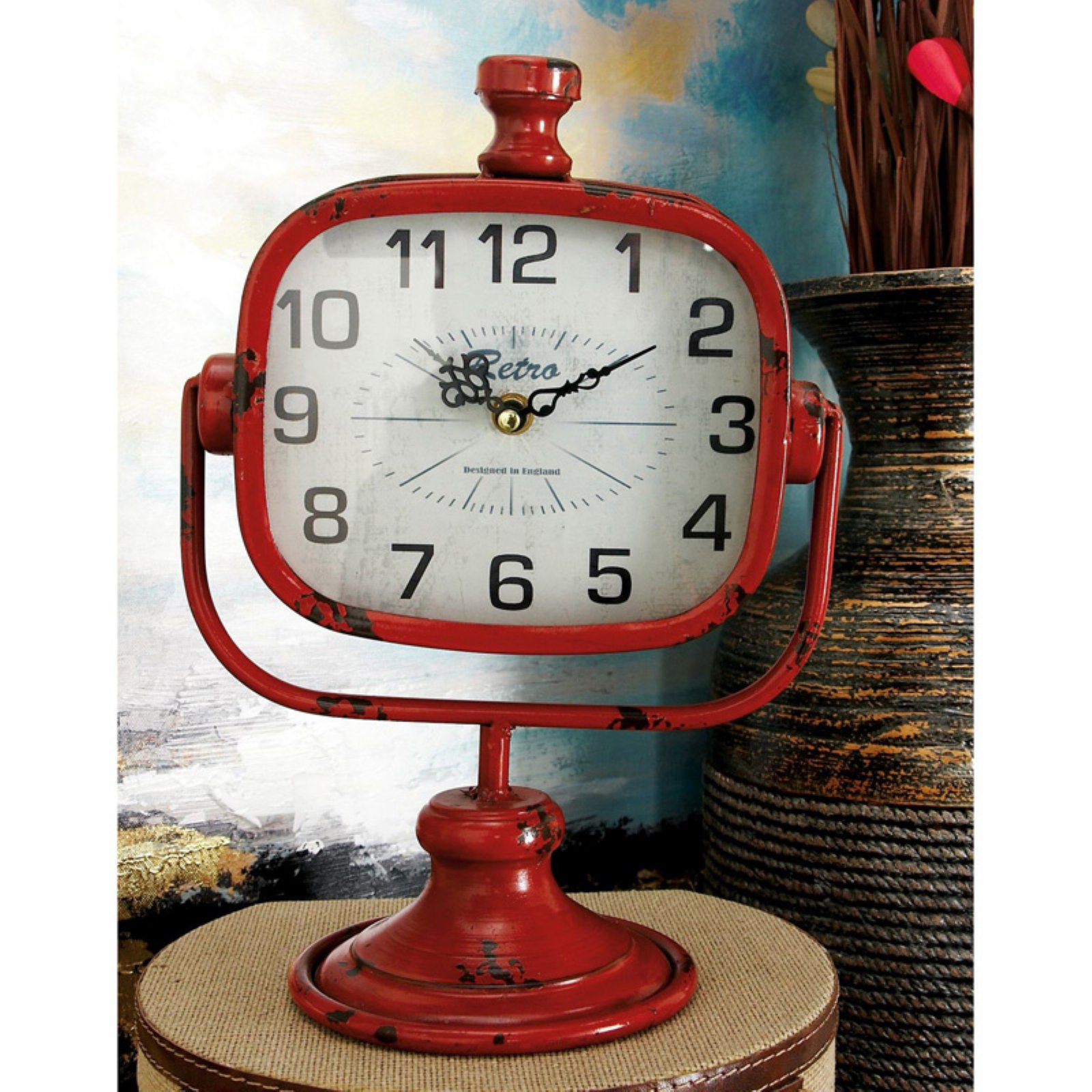 Decmode Rustic Table Clock Set Of 2 Clock Painting Antique