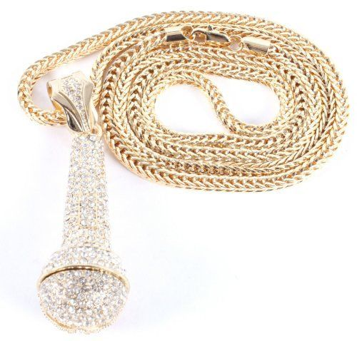 gold iced out microphone pendant with a 36 inch franco