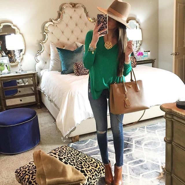 Hooker Furniture Sanctuary Bling Bed, AG Jeans, Trouve Sweater Green, Tan  Prada Bag