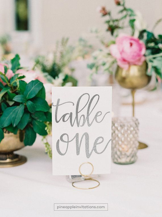 Veronique Silver Foil Table Numbers Number Cards Two Sided Wedding With