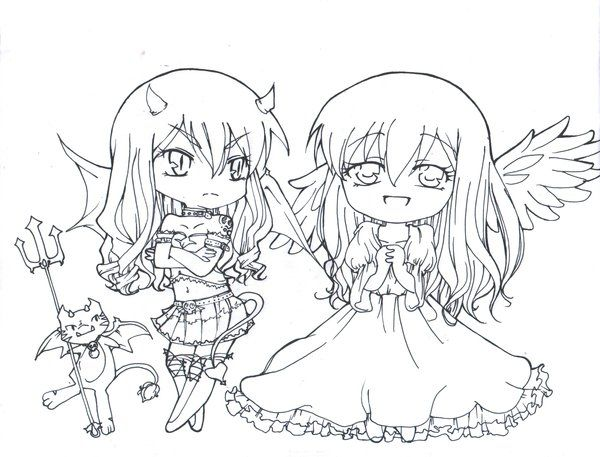 Angel Devil Chibi Coloring Pages For Kids Adult