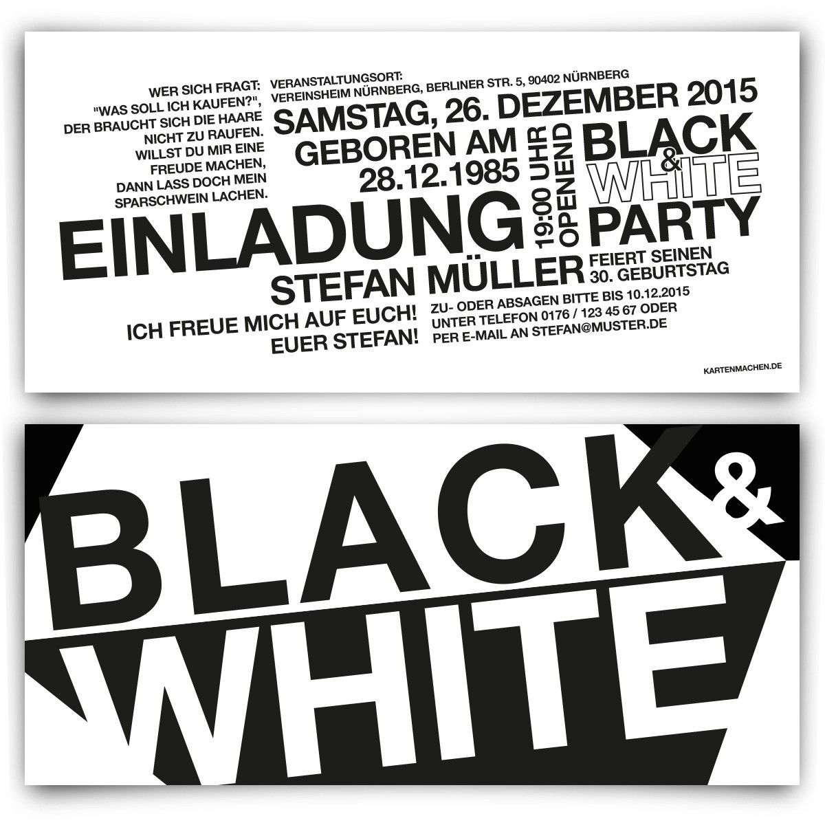 lovely party einladung/party einladungen #1: Black u0026 White Weiß Party Einladungskarten mit eigenem Text!