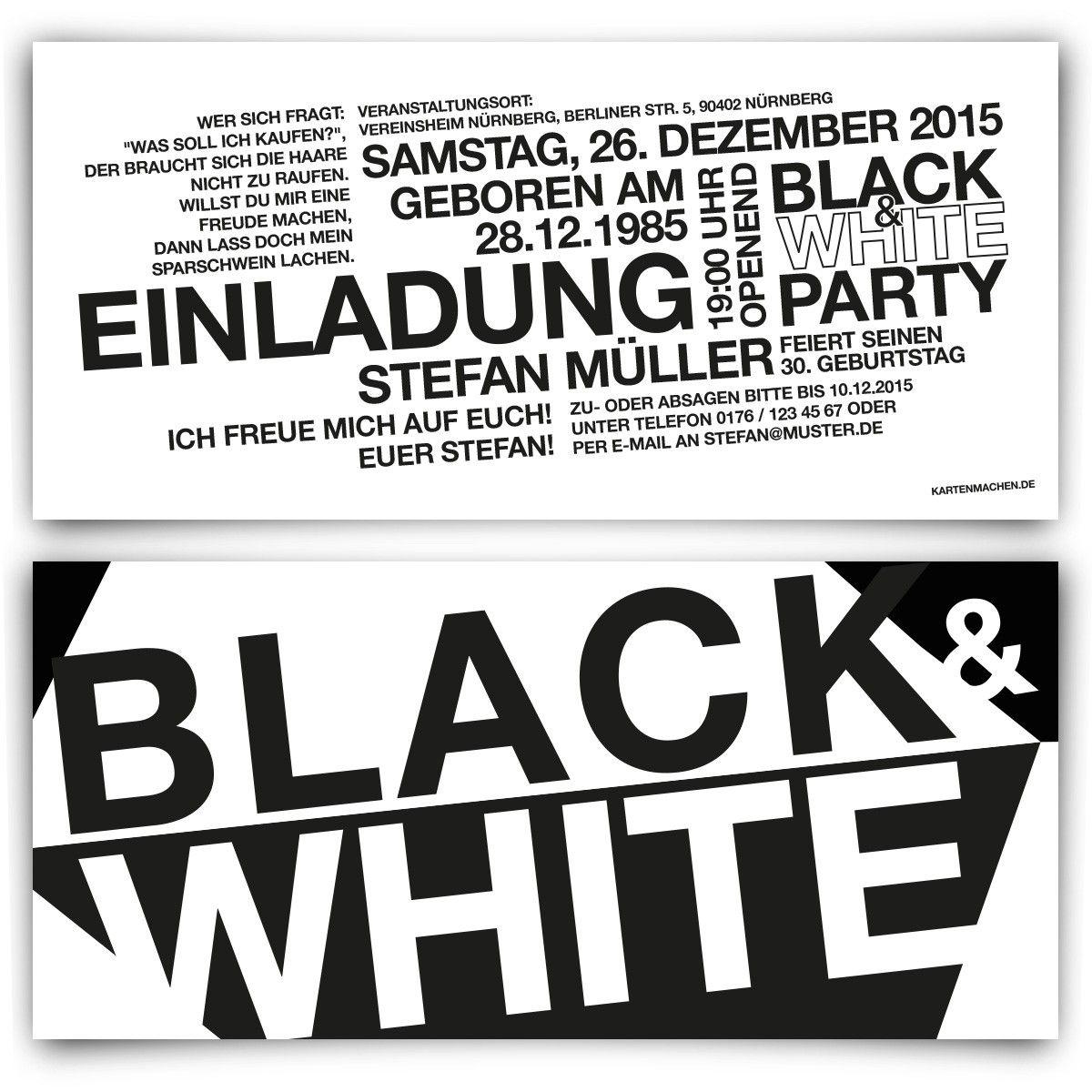 einladungen - black & white party #geburtstag #einladung, Einladung